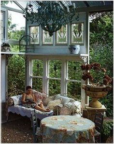 a favorite feature of mine of some Victorian homes was the arboretum, or the conservatory. A glassed room specifically for the cultivation and growth of favored and sometimes rare flowers. room with veranda Grandmas Dreams Outdoor Rooms, Outdoor Gardens, Outdoor Living, Outdoor Decor, Indoor Outdoor, Outdoor Sheds, Small Gardens, Outdoor Seating, Dream Garden
