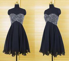 New Arrival Black Homecoming Dress,Chiffon Short Prom Dress