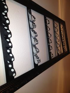 Gorgeous!!!  Picture Frame Bow Holder. $30.00, via Etsy.