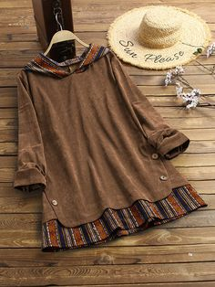 Gracila Vintage Pockets Corduroy Solid Color Loose Casual Dress Online - NewChic Mobile Source by Bags outfit Plus Size Hoodies, Plus Size Blouses, Plus Size Vintage, Mode Hijab, Blouse Vintage, Vintage Floral, Stylish Dresses, Stripe Print, Blouses For Women