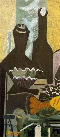 1948 Still life with lobster - Georges Braque. Titulo original: Nature morte avec lobster. Cubismo, Expresionismo