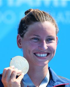 Haley Anderson of USA poses with her gold medal after winning the Open Water Swimming Women's race on day one of the FINA World Championships at Moll de la Fusta on July 2013 in Barcelona, Spain. Open Water Swimming, Barcelona Spain, World Championship, Olympics, Cool Pictures, Poses, Usa, Gold
