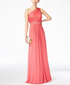 Adrianna Papell Embellished One-Shoulder Gown | macys.com