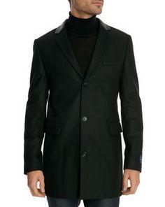 Manteau en laine avec col en cuir noir CELIO CLUB