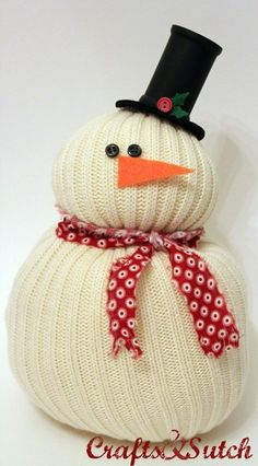 Snowman made from a sweater sleeve