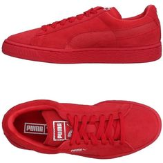 Puma Sneakers ($94) ❤ liked on Polyvore featuring shoes, sneakers, tennis shoe, red, red tennis shoes, tennis sneakers, leather shoes, red leather shoes and flat shoes