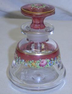 Enamel Painted Glass Perfume Bottle Cranberry Floral Rose w Polished Pontil