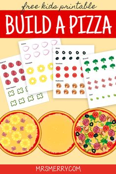 Make a pizza just how you like it with our free build a pizza kit. Cut out the 10 different toppings and create your very own unique pizza. A creative toy to keep kids busy. Just cut and create! Rainy Day Activities For Kids, Preschool Learning Activities, Free Preschool, Preschool Activities, Pizza Craft, Diy Crafts For Kids Easy, Preschool Programs, Kindergarten Art Projects, How To Make Pizza