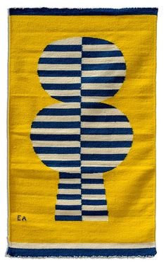 Ackerman - The Mid-Century Modern Works of Jerome & Evelyn Ackerman; Evelyn Ackerman tapestry blue, white and yellow Textiles, Textile Patterns, Print Patterns, Textile Design, Textile Art, Modern Words, Damier, Tapestry Weaving, Tree Tapestry