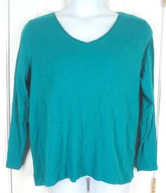 LANE BRYANT Tee Shirt 18 20 Green Top Long Sleeve Cotton Casual Plus Solid $13.88 #LaneBryant #KnitTop #Casual