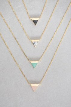 Gold + Stone Triangle Pendant Necklace Available in: Black Marble, White Marble, Jade, Rose