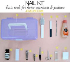 kit: Tool box, two layer and with compartments Metal foot file Buffer Metal cuticle pusher Nail polish remover Cream Buffing block Metal toenail clipper Metal nail clipper Metal nail file Cuticle scissors Cotton bud, preferably pointed Cotton pad Pedicure At Home, Pedicure Kit, Manicure And Pedicure, Jelly Pedicure, Mani Pedi, Nail Care Tips, Nail Tips, Make Up Organizer, Basic Nails