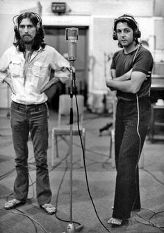 George and Paul during 'Abbey Road' album recording sessions, 1969.