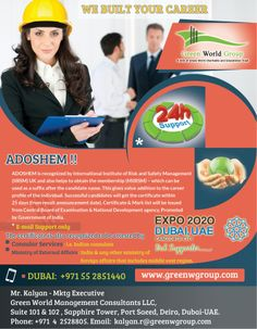 Green world Group announces a Advanced Safety Adoshem diploma course in Dubai with affordable price. Limited period offer!!. http://www.greenwgroup.com/training-courses/adohsem
