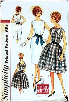 Simplicity 3909 Junior or Misses Dress with Two Skirt Options and Back V-Neck Vintage Sewing Pattern Check Listings for Size Clothes Patterns, Sewing Patterns, Miss Dress, Sewing Stores, Sewing Crafts, 1960s, Vintage Outfits, V Neck, Amazon