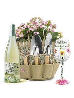 1000 images about wine baskets on pinterest wine gift for Gardening tools gift basket