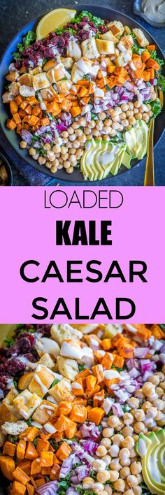 This Loaded Kale Caesar Salad is so filling and delicious!  It's loaded with tons of healthy ingredients and topped with a creamy dressing!  It's perfect for lunch dinner or meal prep!  Vegan too!  #Salad #Vegan #Healthy #MealPrep #Lunch