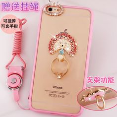 Universal Metal Ring Buckle Case Cover For iPhone 7 6 S Plus with 360 kitty rabbit stand ring holder phone cover with straps