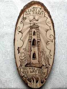 #Pyrography lighthouse. If #light is in your heart, you will find your way home. by #TimberleePyrography #Rumi #RumiQuote