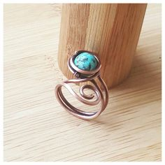 blue wire wrapped turquoise ring/gemstone ring wire/wire wrapped ring/copper ring turquoise/stone ring copper/wire ring with gemstone/rings
