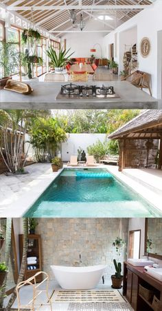 architecture/interior The Most Beautiful Airbnbs in Canggu, Bali For Every Budget - Live Like It's t Modern Tropical House, Tropical House Design, Tropical Houses, Modern House Design, Villa Design, Beautiful Houses Interior, Beautiful Homes, Beautiful Home Interiors, Bali Stil