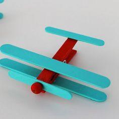 Clothespin Airplanes | AllFreeKidsCrafts.com