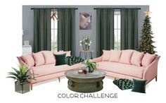 """""""Color Challenge: Green and Blush"""" by victoria-ronson ❤ liked on Polyvore featuring interior, interiors, interior design, home, home decor, interior decorating, Eichholtz, Vera Bradley, LSA International and Kay Bojesen"""