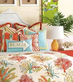 Beautiful Beach Bedding Collections for beach enthusiasts: beachblissliving. Coastal Living Rooms, Decor, Cottage Decor, Tropical Bedrooms, Beach Cottage Style, Bedroom Design, Home Decor, Beach House Decor, Coastal Bedrooms