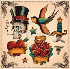 Old school tattoos Royalty Free Stock Vector Art Illustration
