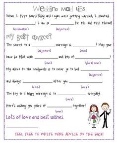 Wedding Mad Libs by DesignsByRiley on Etsy, $20.00