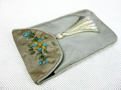 SILK EMBROIDERED PHONE CASE GRAY   chinese embroidery tutorial