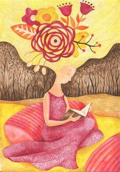 žena, kniha, květina, šaty, četba, vlasy