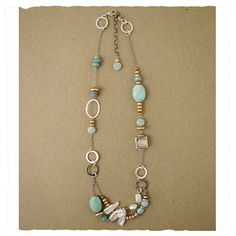 """Sterling, amazonite, tan and white pearl necklace.  Lobster clasp.Handmade in USA. Adjustable from 18"""" to 20""""L, $224.95 jandijewlery.com"""