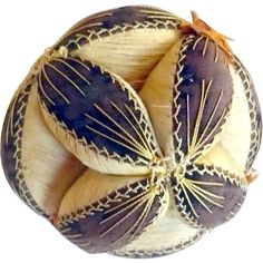 19th Century 5 Inch Chester County PA Brown Linen and Cream Silk Puzzle Ball Feathered Stitching