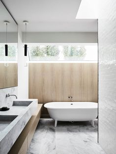 floating sink over floating vanity // Elissa House by Templeton Architecture // est Bathroom Interior Design, Home Interior, Interior Colors, Natural Bathroom, Beige Bathroom, Bathroom Taps, Bathroom Curtains, Washroom, Modern Bathroom