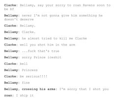 this is how it should have gone down :D #bellarke #roan