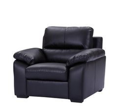 Black Leather Sofa 1 Seater Styles Armchair