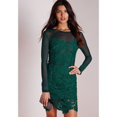 Missguided Floral Lace Mesh Bodycon Dress Green ($77) ❤ liked on Polyvore featuring dresses, teal, green bodycon dress, lace cocktail dress, green cocktail dress, teal lace dress and floral bodycon dress