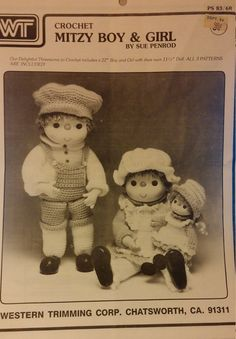 Pattern to crochet three dolls, 22 boy and girl and 11 1/2 baby doll