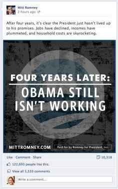 Mitt Romney Facebook post Thurs night of Dem convention