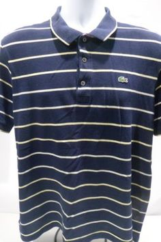 Lacoste-Short-Sleeve-Navy-Blue-Yellow-White-Striped-Shirt-Size-6-XL-Alligator