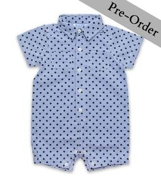 This one piece shortall is the perfect boy's item for Spring and Summer. The style works easily for a casual day out and about, or paired with a cardigan and loafer for a more special occasion. Item ships starting February 27th.