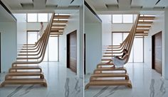 escalier suspendu de design extraordinaire avec marches en bois