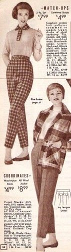 1950's cigarette pants usually just came in black. Brighter colors were reserved of capri pants and sport shorts. In the later 1950′s more patterns like checks and stripes appeared on casual cigarette pants. Cigarette pants were sometimes worn with a thin leather belt placed in the center of the waistband. #1950sfashion #vintage