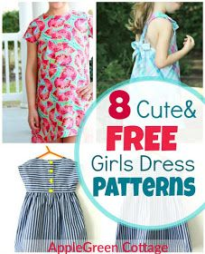 8 totally free patterns for cute girls dresses. Great beginner sewing projects (because there's always a tutorial added to the free pattern, yey!) Can you imagine anything cuter than a little girl's smile when twirling in an adorable summer dress?