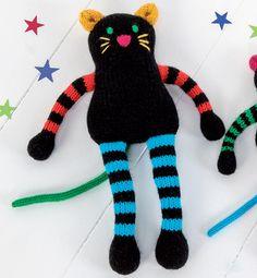 Modèle doudou grand chat multicolore