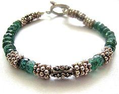 Green Apatite Gemstone Sterling Silver Bracelet -- SOLD