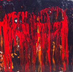 Art, Home Decor, Abstract Painting, Kiss of Death, Red and Black $175.00