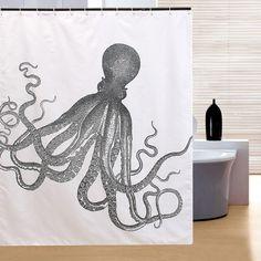 150x180cm resistente al agua de ducha de poliéster pulpo decoración del baño cortina de Halloween con 12 ganchos