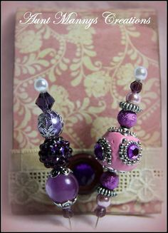 """3"""" Decorative Stick Pins with Glass Beads & Coordinating Matchbox Cover"""